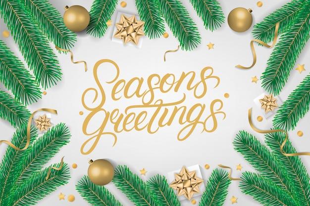 Season's greetings, texte écrit à la main. Vecteur Premium