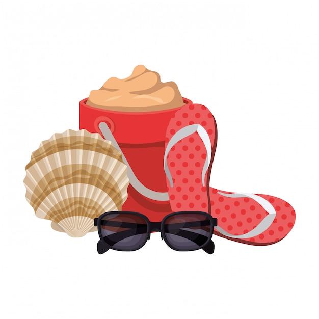 Seau de sable avec des lunettes de soleil sur blanc Vecteur gratuit