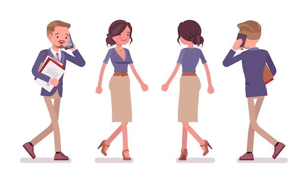 Secrétaire De Bureau Masculin Et Féminin Vecteur Premium