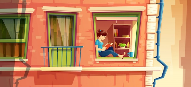 Section de la façade du bâtiment avec une fille lisant le livre sur la fenêtre Vecteur gratuit