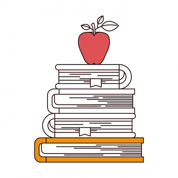 Sections de couleur de silhouette de pile de livres avec pomme Vecteur Premium
