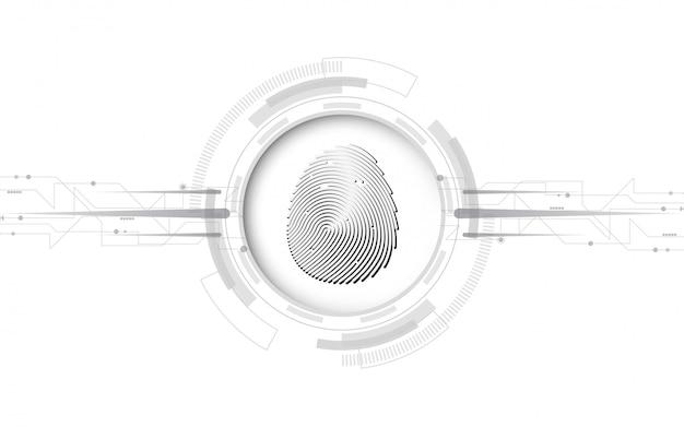 Sécurité cyber concept numérique empreinte digitale numérisation résumé technologie de fond protège l'innovation système Vecteur Premium