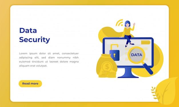 Sécurité des données client, illustration sur le thème du secteur bancaire Vecteur Premium