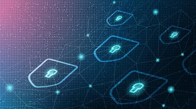 Sécurité du bouclier technologique numérique Vecteur Premium