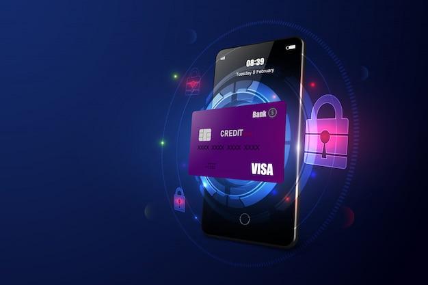 Sécurité du paiement en ligne via smartphone Vecteur Premium