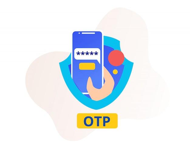 Sécurité otp ou mot de passe unique smartphone et bouclier Vecteur Premium