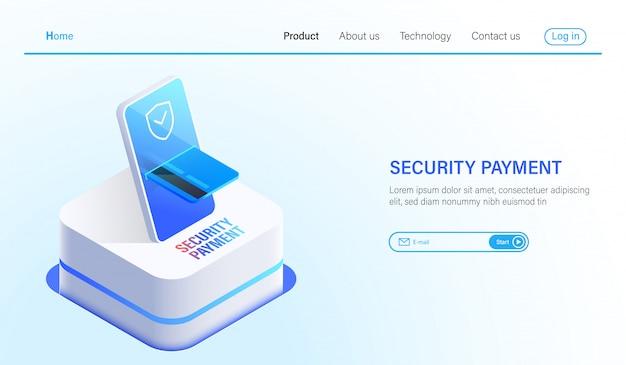 Sécurité de paiement isométrique et technologie de protection des données Vecteur Premium