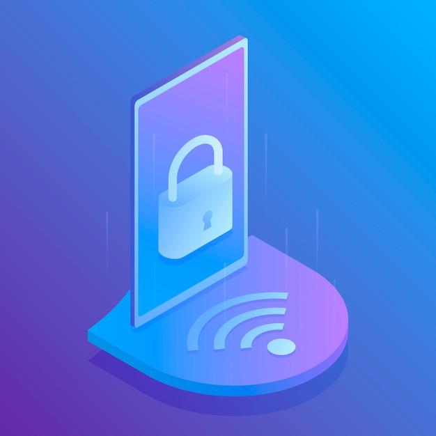 Sécurité Wifi Isométrique 3d, Connexion Sécurisée Au Wifi. Illustration Moderne Vecteur Premium