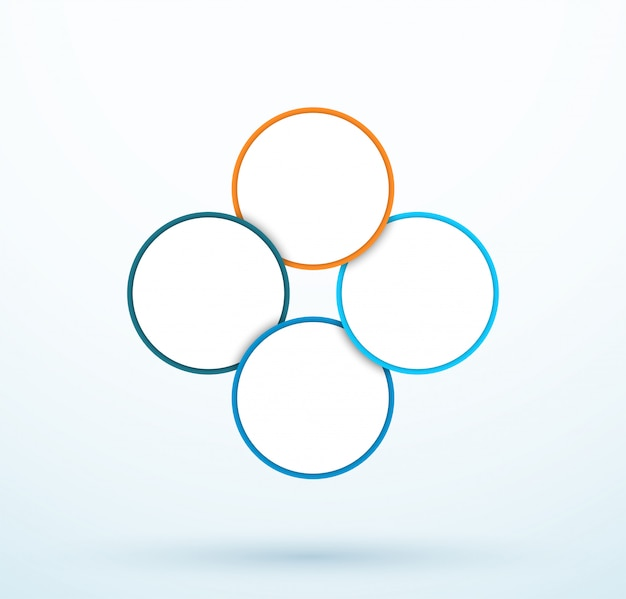 Segments liés infographie à quatre cercles Vecteur Premium