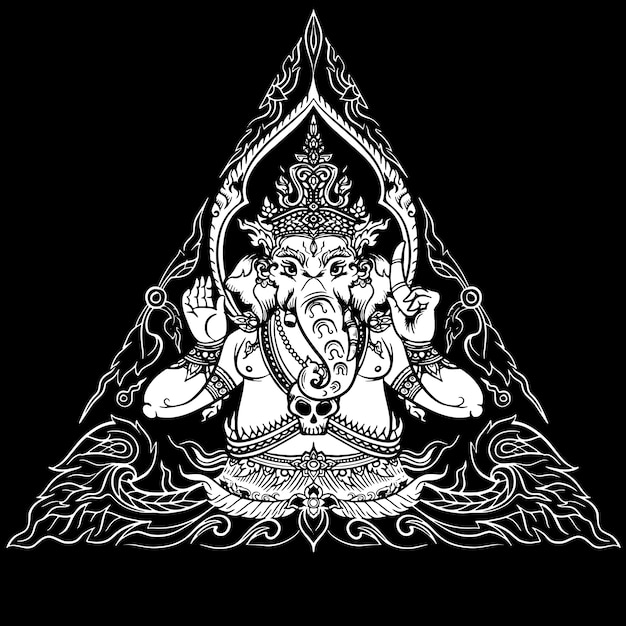 Seigneur ganesha sur fond noir Vecteur Premium