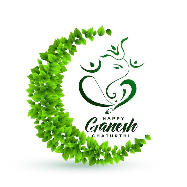 Seigneur Respectueux De L'environnement Ganesha Feuilles Fond Vecteur gratuit