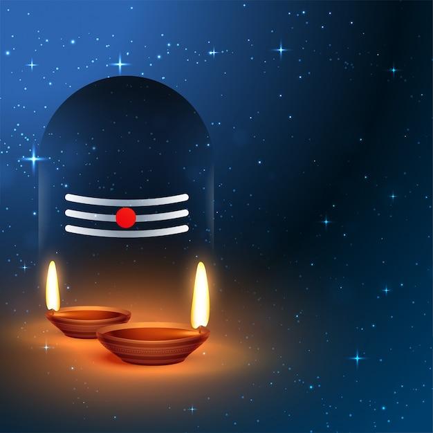 Seigneur Shiva Idole Shivling Avec Adoration Diya Vecteur gratuit