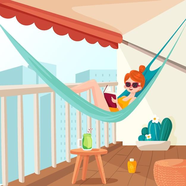 Séjour Au Balcon De La Maison Vecteur gratuit