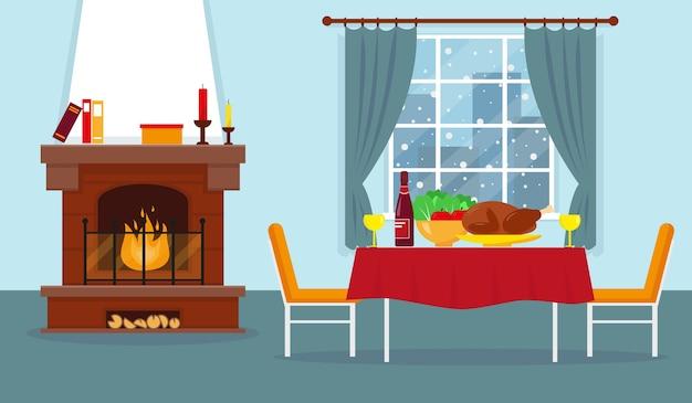 Séjour Avec Cheminée Et Mobilier. Intérieur D'hiver Confortable. Dîner De Fête. Vecteur Premium