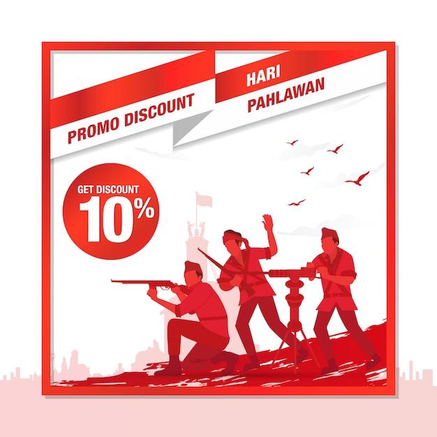 Selamat Hari Pahlawan Nasal. Traduction: Bonne Journée Nationale Des Héros Indonésiens. Illustration Pour Carte De Voeux Vecteur Premium