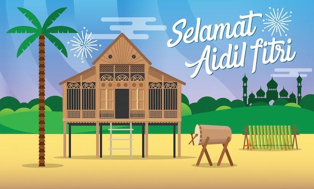 Selamat Hari Raya Aidil Fitri Carte De Voeux En Illustration De Style Plat Avec Maison De Village Traditionnelle Malaise / Kampung, Mosquée, Tambour Et Lamang Vecteur Premium