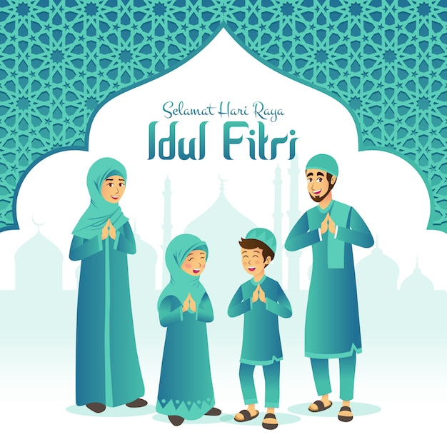 Selamat Hari Raya Idul Fitri Est Une Autre Langue De Joyeux Eid Mubarak En Indonésien. Cartoon Famille Musulmane Célébrant L'aïd Al Fitr Avec Mosquée Et Cadre Arabe Vecteur Premium