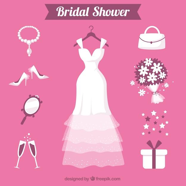 Sélection appartement d'accessoires féminins pour le mariage Vecteur gratuit