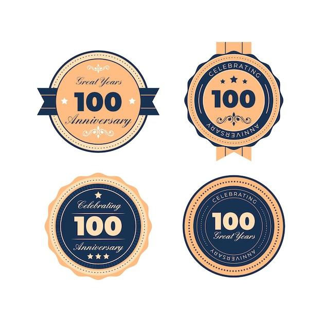Sélection De Badges Anniversaire One Houndred Vecteur Premium