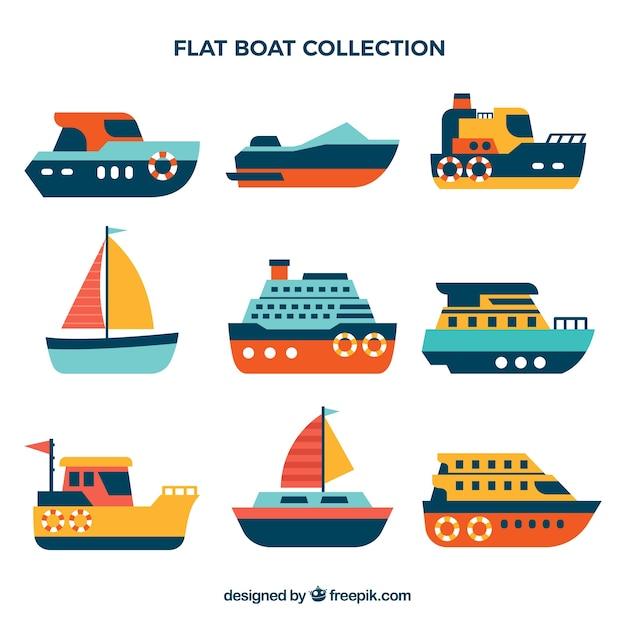 Sélection de bateaux à couleur plate Vecteur gratuit