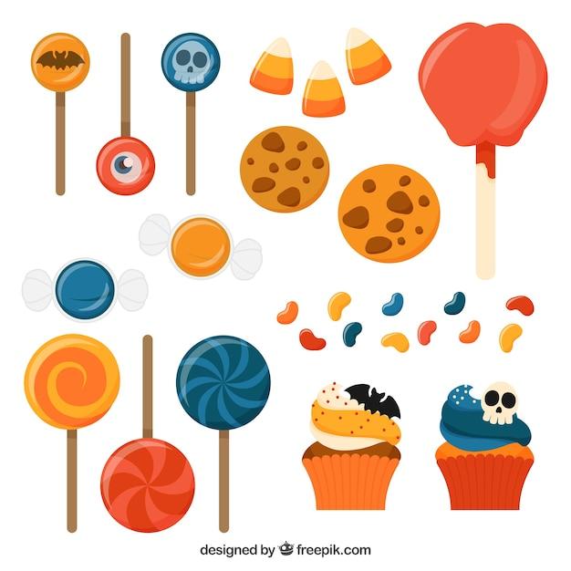 Sélection Des Différents Bonbons Colorés Vecteur gratuit