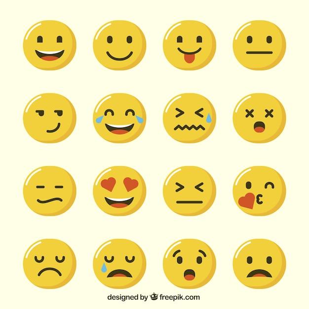Sélection des émoticônes drôles Vecteur gratuit