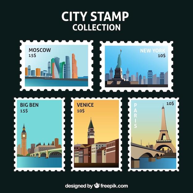 Sélection fantastique de bons timbres de villes Vecteur gratuit