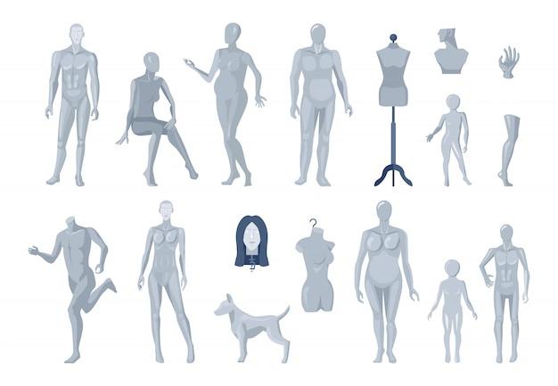 Sélection De Mannequins De Vitrine Et De Tailleur Vecteur gratuit