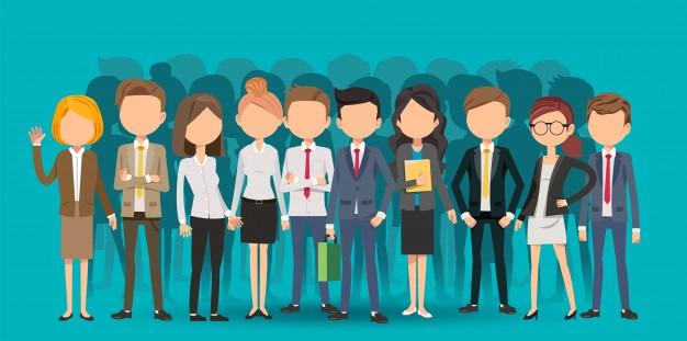 Sélection de personnel créant des affaires en style cartoon Vecteur Premium