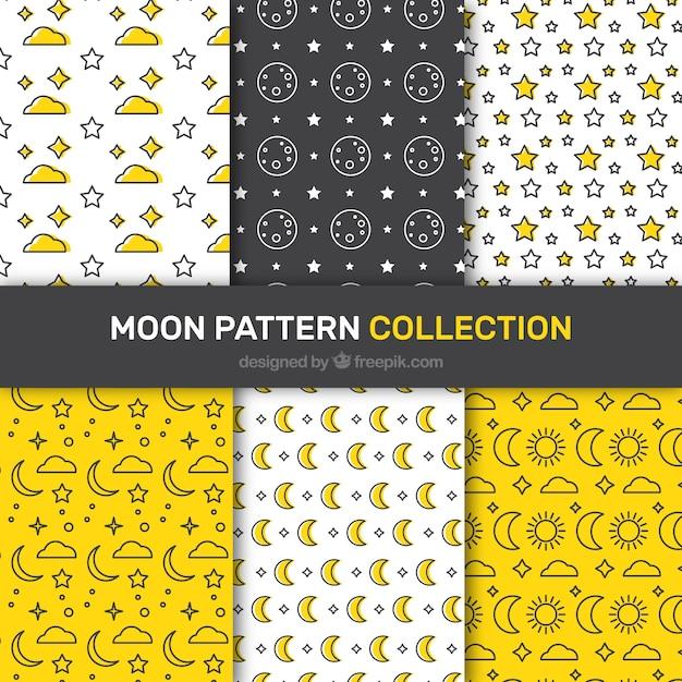 Sélection de six plats avec des lunes modèles et étoiles Vecteur gratuit