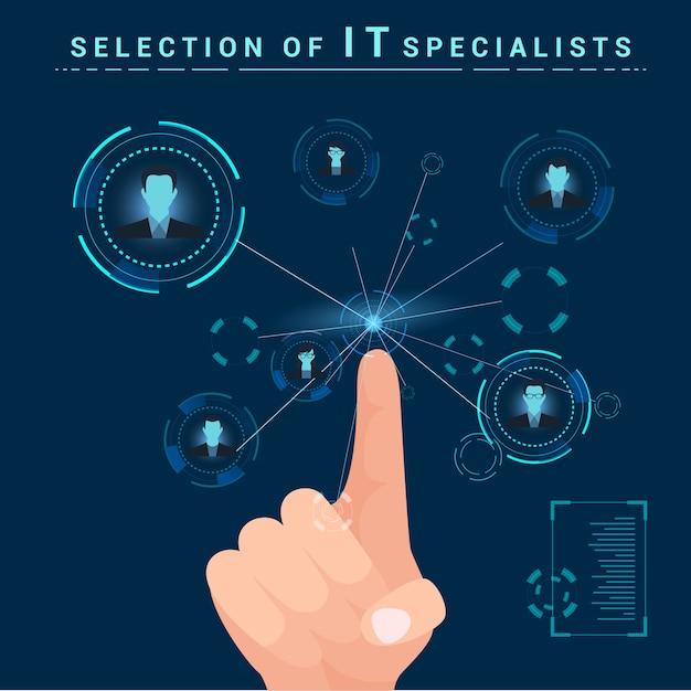 Sélection de spécialistes en informatique. les doigts cliquent sur le moniteur Vecteur Premium
