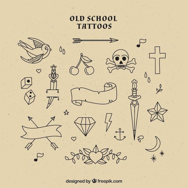 Sélection de tatouages old school Vecteur gratuit
