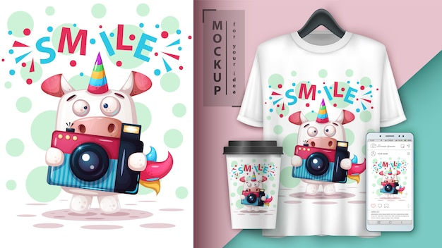 Selfie affiche de licorne et merchandising Vecteur Premium