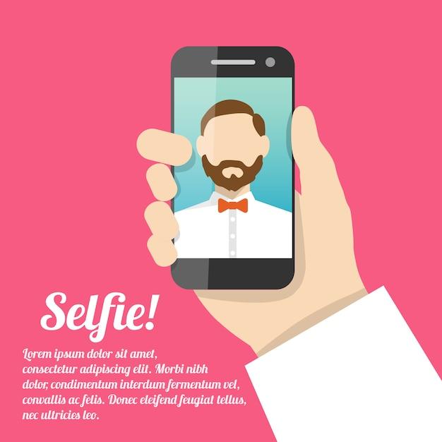 Selfie autoportrait avec modèle de texte Vecteur gratuit