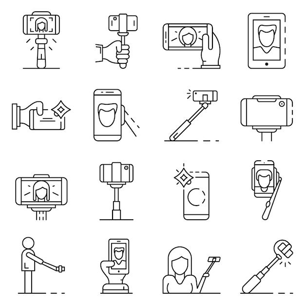 Selfie jeu d'icônes. ensemble de contour des icônes vectorielles selfie Vecteur Premium