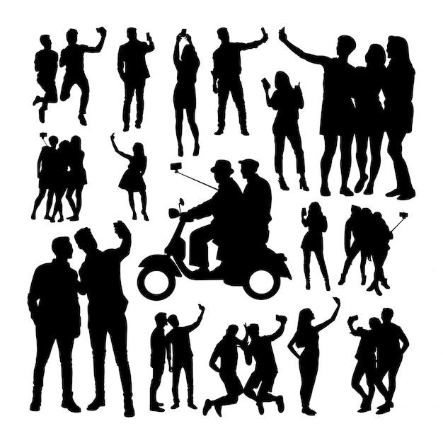 Selfie people silhouettes Vecteur Premium