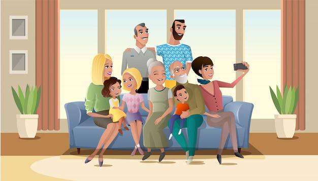 Selfie photo du vecteur grand dessin animé famille heureuse Vecteur Premium