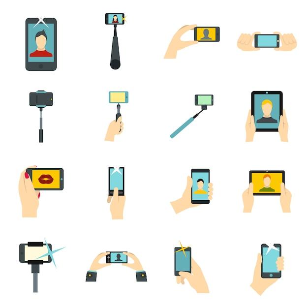 Selfie set d'icônes Vecteur Premium