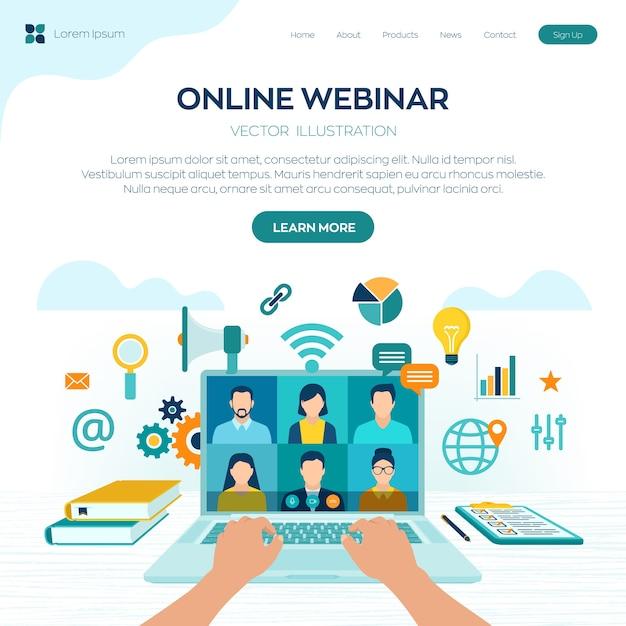 Séminaire En Ligne. Conférence Internet. Séminaire Web. Apprentissage à Distance. Concept De Formation E-learning. Vecteur Premium