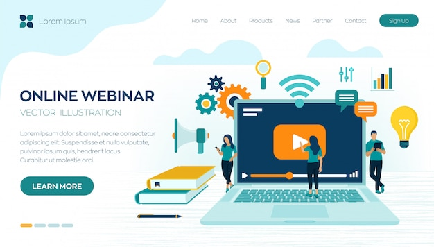 Séminaire En Ligne. Modèle De Page De Destination E-learning. Vecteur gratuit