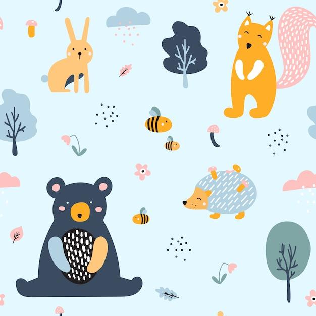 Semless woodland pattern avec des animaux mignons. Vecteur Premium