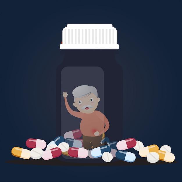 Senior avec des bouteilles de pilules. Vecteur Premium