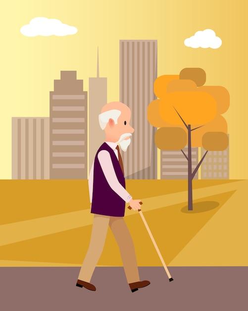 Senior homme avec une canne dans l'illustration de city park Vecteur Premium