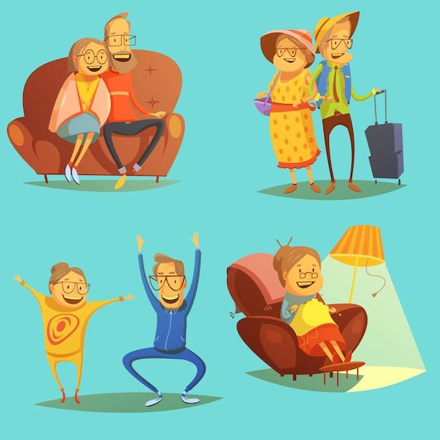 Senior people icons sertie de symboles de passe-temps sur fond bleu Vecteur gratuit