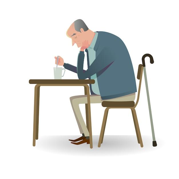 Senior triste avec une canne assis sur un canapé. Vecteur Premium