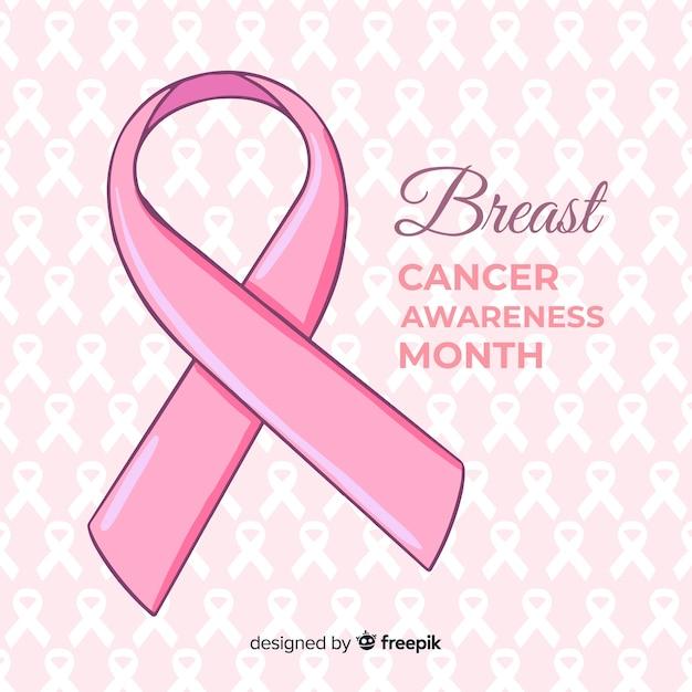 Sensibilisation au cancer du sein dessinée à la main Vecteur gratuit