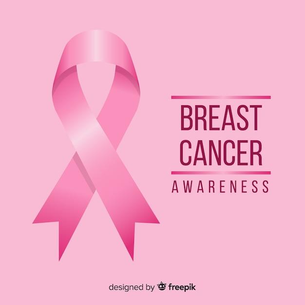 Sensibilisation au cancer du sein plat avec ruban Vecteur gratuit