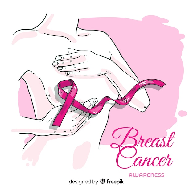 Sensibilisation au cancer du sein avec ruban dessiné à la main Vecteur gratuit