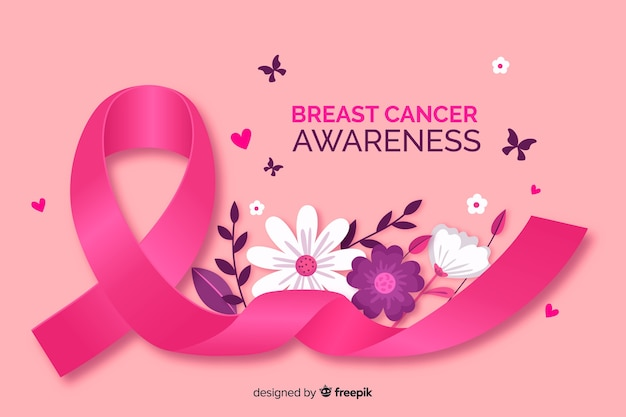 Sensibilisation au cancer du sein avec un ruban réaliste Vecteur gratuit