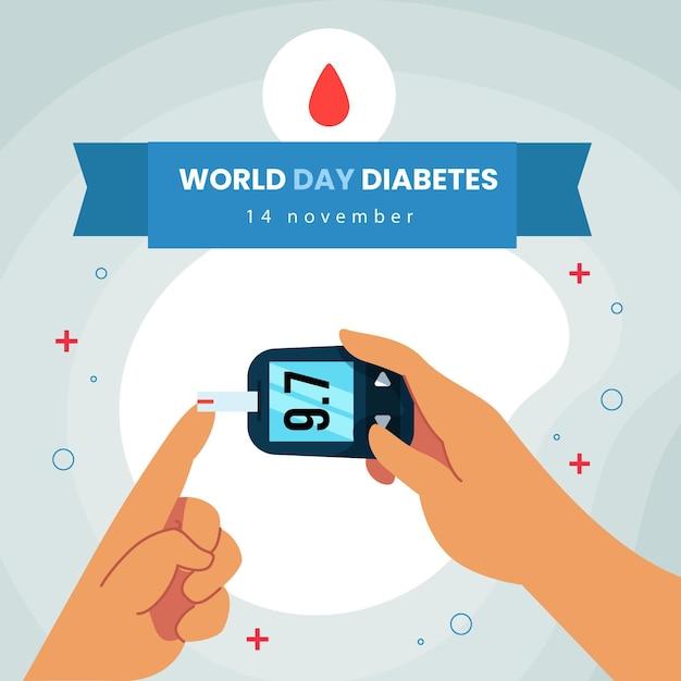 Sensibilisation à La Journée Mondiale Du Diabète Design Plat Vecteur Premium